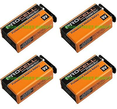 4 X Duracell Industrial 9V PP3 Block Alkaline Batteries MN1604 Replaces Procell