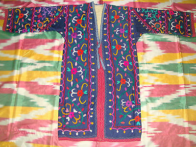 Antique Uzbek Vintage Handmade Embroidery Suzani Robe Dress