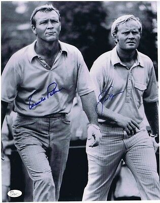 JACK NICKLAUS & ARNOLD PALMER COMBO SIGNED AUTOGRAPHED 11x14 - JSA Authenticated