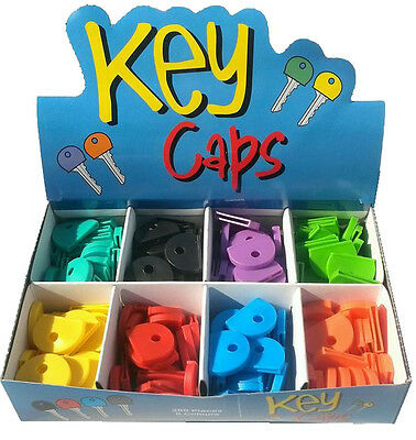 1 - 100 Coloured Key Top cover Caps Assorted Head Covers ID Tag Cap Ring Keyring