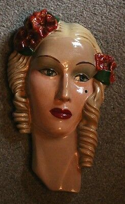 Fabulous Original Art Deco Chalkware / Plaster Wall Plaque - Lady With Ringlets