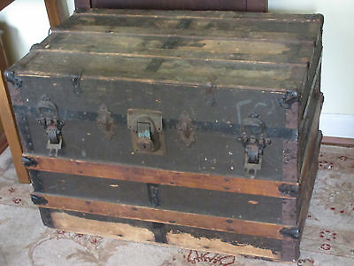 Antique Flat Top Wood Trunk Primitive Coffee Table Country Cottage Storage Chest