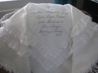 Beautiful WHITE baby christening shawl ***NEW*** PERSONALISED
