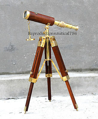 Maritime Nautical Solid Brass Telescope With Wooden Tripod Vintage Marine Scope
