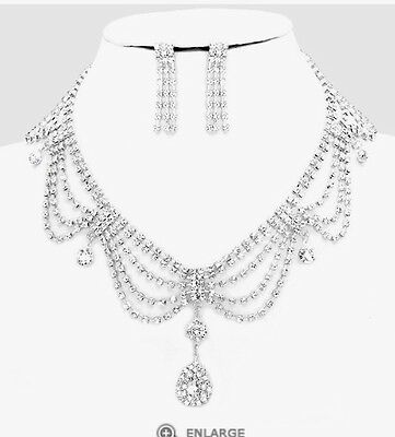 White Bridal Crystal Silver Rhinestone Clear Dangle Necklace Jewelry Set Earring