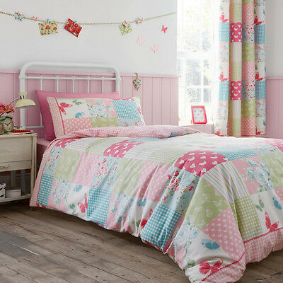 Catherine Lansfield Canterbury Patchwork Girls Quilt Duvet Cover Bedding Set