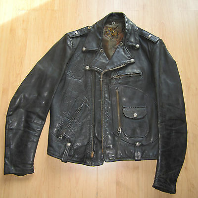 BUCO J-24 Cafe Racer Horse hide Leather Moto Jacket Size  40 Vintage (1950s)!