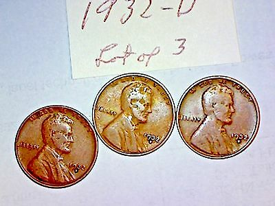 1932-D Lincoln Cent Lot Of 3