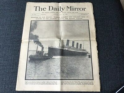 TITANIC DISASTER. Daily Mirror 16th April 1912