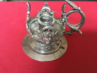 Antique Good Quality Silver Plated Copper ornate Chamberstick-c1880's