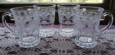 CRYSTAL CLEAR INDUSTRIES - FROSTED FLEUR De LIS GLASS MUGS - SET of 4