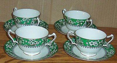 4 Sets Crown Staffordshire 2 Handled Tea Cups And Saucers A6035 Green Floral