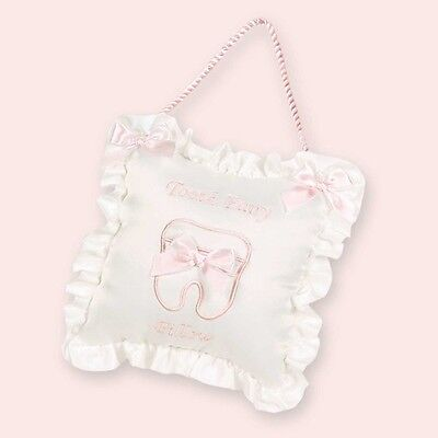 Girls Tooth Fairy Pillow White and Pink by The Bearington Collection NWT
