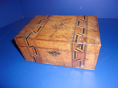 Antique 19th c Victorian Marquetry Inlaid Wood blue Silk Lined Lock Box w/Key