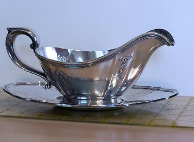Vintage Gorham Silverplate Gravy Sauce Boat and Underplate Y330 Y331