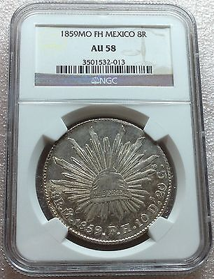 1858 Mo FH Mexico Cap & Rays 8 Reales NGC AU58 Nice Toning