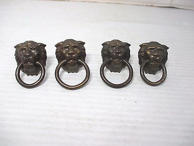 "Set of 4 Vintage Lion Head Drawer Cabinet Dresser Ring Pulls Hardware 2"" x 1 1/4"
