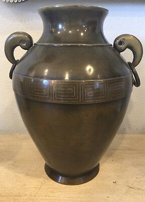 Antique Japanese Or Chinese Art Bronze Vase Old Asian Urn Vintage
