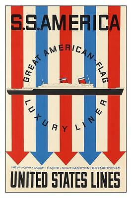 S.S. America, United States Lines   12 x 18 poster