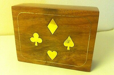 Small Wooden Brass Inlaid Playing Cards Box With Cards