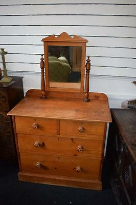 Antique Pine Dressing Chest/Drawers With Mirror FAB!
