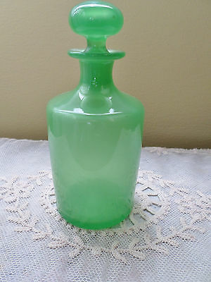 "Antique 5.5"" French Green Opaline Perfume Bottle"