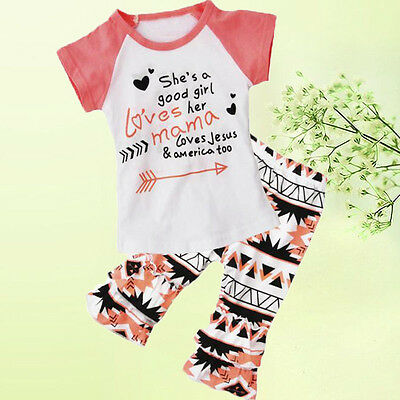 Baby Kids Girl Arrows T-shirt Tops+Bell-bottom Trousers Pants Clothes Set