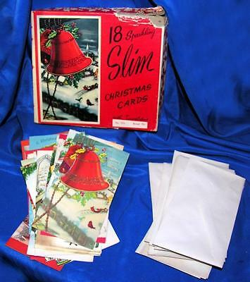 1940's VTG UNUSED BOX DIAMOND LINE 18 XMAS CARDS, GLITTER, ALL DIFFERENT, W ENVS