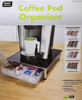 Smart Design Stackable Coffee Pod & Capsule Drawer/Organiser with Glass Top-NEW