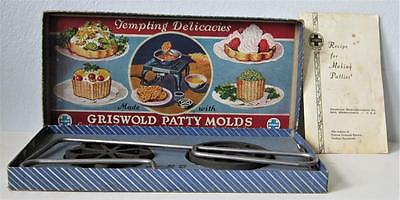 Vintage Set GRISWOLD No. 1 PATTY MOLDS in Orig. Box w/ RECIPE Leaflet CAST IRON