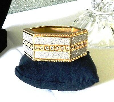 "Hinged Cuff Bracelet With Crystals - 6 Sided 9.5"" Around- Large Nwt"