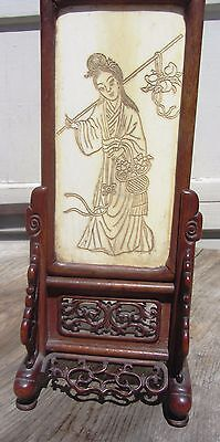 Rare Ornate Carved Antique Chinese Domestic Bovine Bone Table Screen Very Fine!!