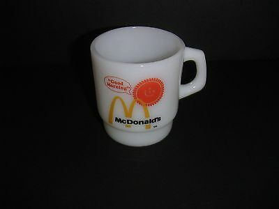 Vintage McDonald's Coffee Cup GOOD MORNING Anchor Hocking Fire King Milk Glass