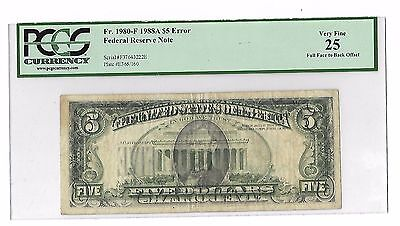 Fr. 1980-F 1988A $5 Error Federal Reserve Note Full Face to Back Offset VF 25