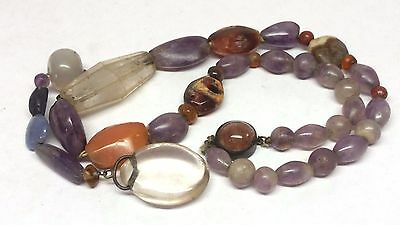 Antique Chinese Amethyst, Agate, Rock Crystal, Sterling Silver Bead Necklace