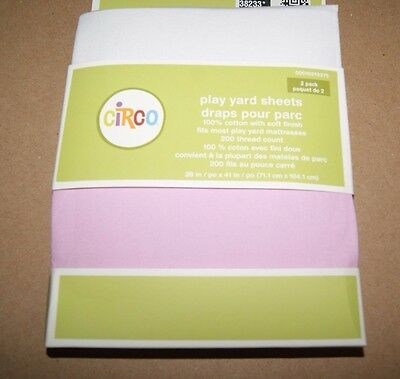 "CIRCO Play Yard Fitted Sheets 2 Pack Pink White - Cotton - 28""x41"" New"