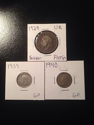 Great Britain Silver Coins Lot Of 3