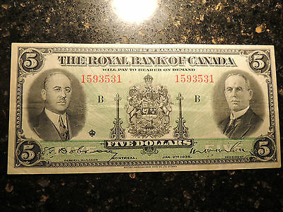 1935 ROYAL BANK OF CANADA $ 5 FIVE DOLLARS 630-18-02a LARGE SIGNATURES