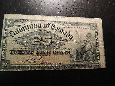1900 Dominion Of Canada 0.25 Cents Boville Error Top  + Right Other Shinplaster.