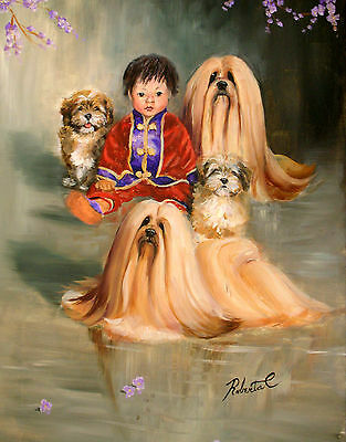 Lhasa Apsowith oriental child  limited edition print