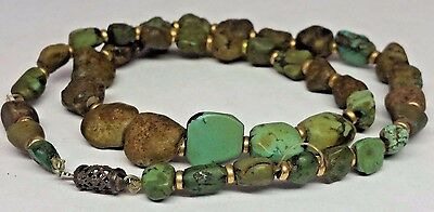 Vintage Chinese Turquoise Nugget 14k Gold Beads Necklace Antique 25g 15.5""