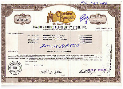 Cracker Barrel stock certificate - Gorgeous - Old Country Store