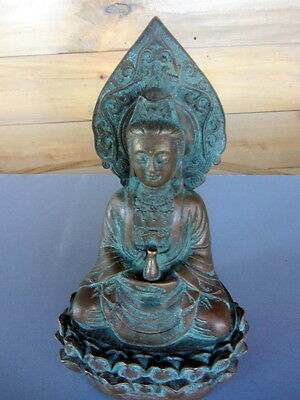 Antique Kwan Yin Ming Dynasty Bronze Asian Statue 1890's Signed Stamp For Wax