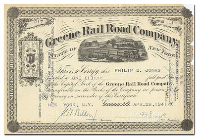 Greene Rail Road Company Stock Certificate (New York)