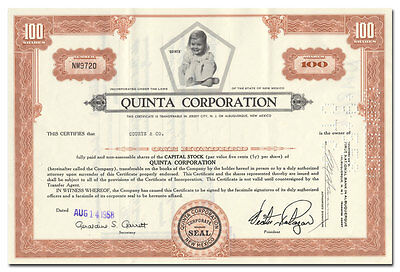 Quinta Corporation Stock Certificate (New Mexico Mineral, Land Company)