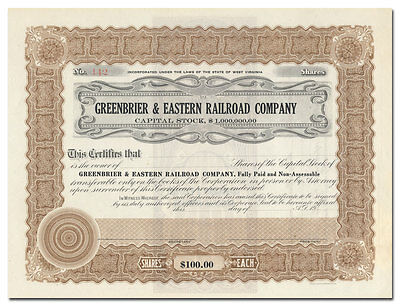 Greenbrier & Eastern Railroad Company Stock Certificate (West Virginia)