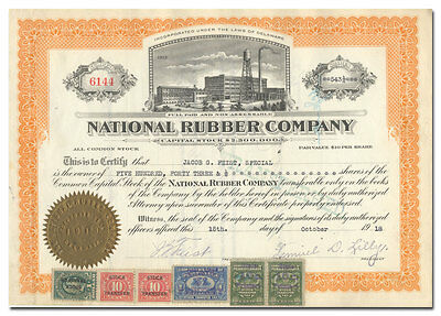 National Rubber Company Stock Certificate