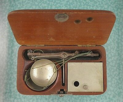 Vtg gold scale wood box Germany 1800s miners travel style lot w107