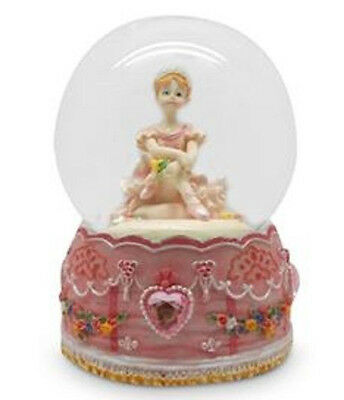 Divine Large PINK Ballerina Fairy Musical Snowglobe Glitter Hearts Water Ball