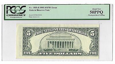 $5 1995 FW Error Federal Reserve Note Misaligned Back Printing Graded 50PPQ